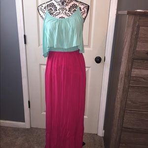 Fuchsia/teal maxi!! Top has overlay